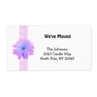Scroll Design with Pink Flower New Address Shipping Label