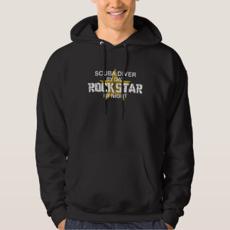 Scuba Diver Rock Star by Night Hoodie