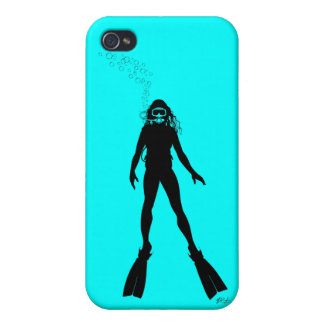 Scuba Diver Silhouette (Woman) Case For The iPhone 4