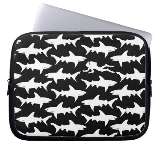 Scuba Diver Swimming with School of Sharks Computer Sleeves