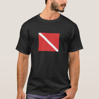 Scuba Diving Logo- Diver's Red White Flag T-Shirt