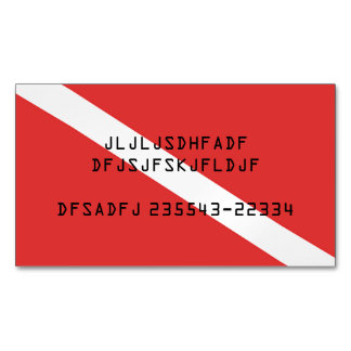 SCUBA DIVING RED FLAG SYMBOL, DIVERS CARD MAGNET