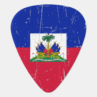 Scuffed and Scratched Haitian Flag Plectrum