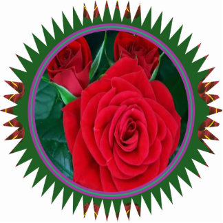 Sculpture RedRose Flower Floral Decorations Standing Photo Sculpture