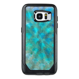 Sea and Mermaid Scales in aqua and gold OtterBox Samsung Galaxy S7 Edge Case