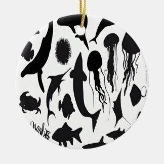 Sea animals silhouette design christmas ornament