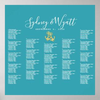 Sea Blue Anchors Nautical Seating Chart Poster