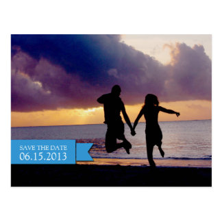 Sea blue banner wedding engagement save the date postcard