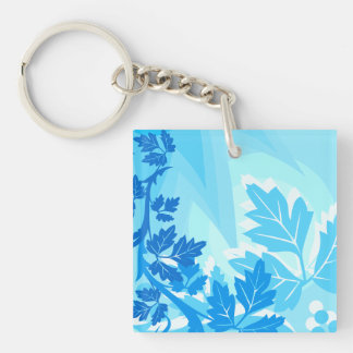 Sea Blue Modern Leaf and Vine Key Ring