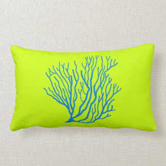 Sea Coral Lime Green and Blue Throw Pillow Cushions