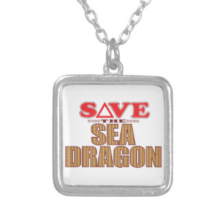Sea Dragon Save Square Pendant Necklace