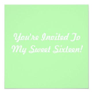 Sea Foam Green Sweet 16 13 Cm X 13 Cm Square Invitation Card