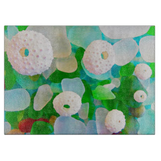 Sea Glass and Sea Urchin Shells watercolor Cutting Board