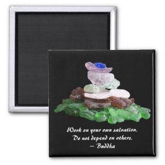 Sea Glass Pyramid With Buddha Quote Square Magnet