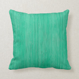 Sea Green Bamboo Wood Grain Look Throw Pillow