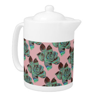 Sea Green Pink And White Abstract Floral Teapot