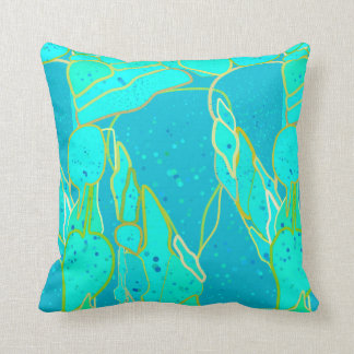 """Sea Grotto"" abstract - turquoise, blue, gold Cushion"