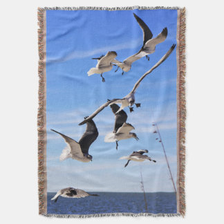 Sea Gulls On The Wing Throw Blanket