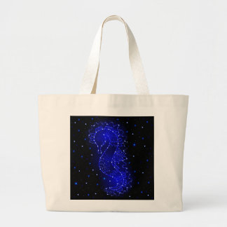 sea horse swims in lights large tote bag
