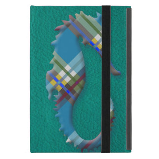 Sea Horse Till Plaids on Turquoise Leather iPad Mini Cover