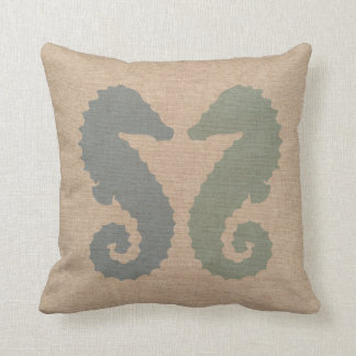 Sea Horses in Blue and Green Cushion