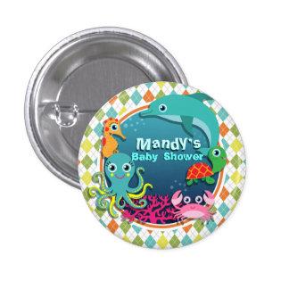 Sea Life on Colorful Argyle; Baby Shower 3 Cm Round Badge
