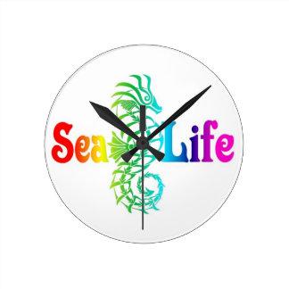 Sea Life Seahorse Round Clock