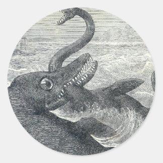 Sea Monster Vs. Sea Serpent Classic Round Sticker