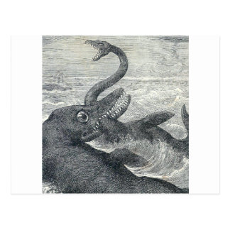 Sea Monster Vs. Sea Serpent Postcard