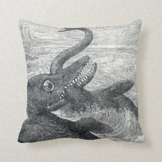 Sea Monster Vs. Sea Serpent Throw Cushion