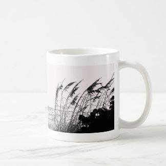 Sea Oats Against Ocean, black and white Basic White Mug