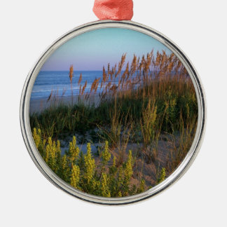 Sea Oats and Beach Silver-Colored Round Decoration