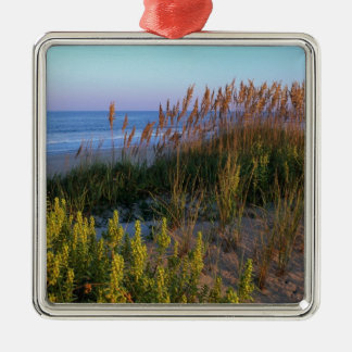 Sea Oats and Beach Silver-Colored Square Decoration
