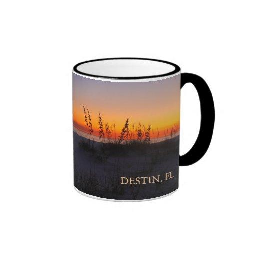 Sea Oats at Sunset - Destin, Florida - Peach Mugs