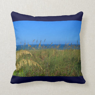 Sea oats beach dune ocean and sky photo throw pillow