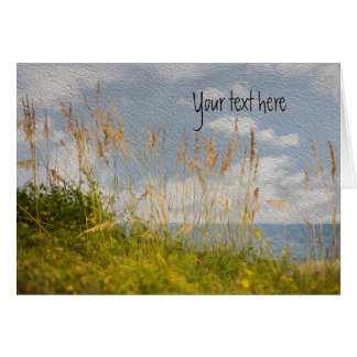 Sea Oats on Beach with Oil Painting Effect Greeting Cards