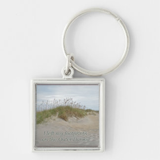 Sea Oats on Sand Dune Outer Banks NC Silver-Colored Square Key Ring