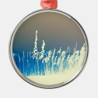 sea oats outline yellow abstract beach image christmas tree ornament