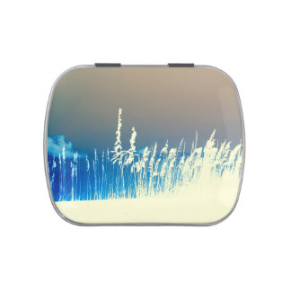 sea oats outline yellow abstract beach image candy tin