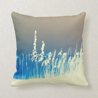 sea oats outline yellow abstract beach image throw pillow