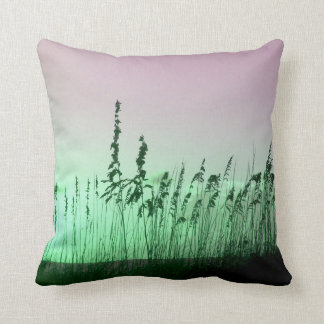 sea oats red green florida sunrise throw pillow