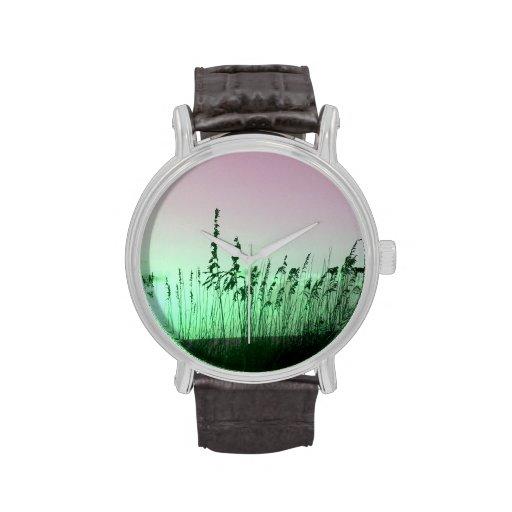 sea oats red green florida sunrise wrist watch