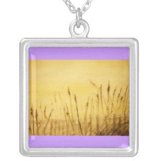 sea oats square pendant necklace