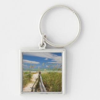 Sea oats Uniola paniculata) growing by beach, Silver-Colored Square Key Ring