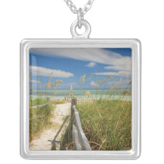 Sea oats Uniola paniculata) growing by beach, Square Pendant Necklace