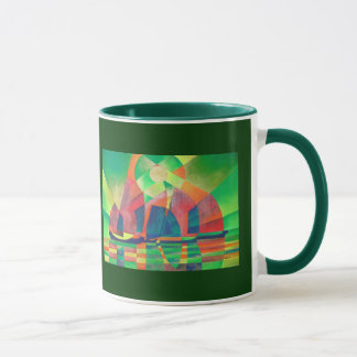 Sea of Green With Cubist Abstract Junks Mug