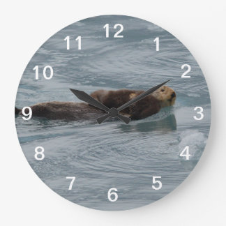 sea otter and baby large clock