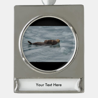 sea otter and baby silver plated banner ornament
