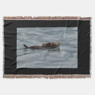 sea otter and baby throw blanket