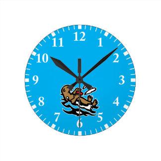 Sea otter round clock